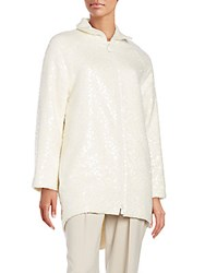 Akris Agathon Sequined Cocoon Jacket Offwhite