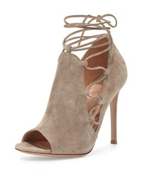 Gianvito Rossi Side Lace Up Peep Toe Bootie Cashmere Cachemire
