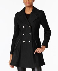 Laundry By Shelli Segal Double Breasted Skirted Peacoat A Macy's Exclusive Black