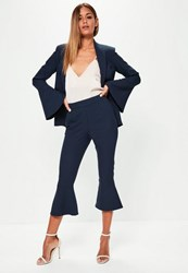 Missguided Navy Frill Hem Suit Culotte Trousers