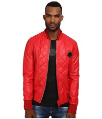 Philipp Plein No One Leather Jacket Red
