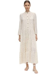 Baum Und Pferdgarten Aia Printed Crepe De Chine Midi Dress White