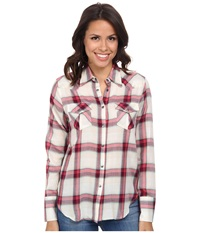 Stetson 9578 Coral Plaid Wstn Shirt Red Women's Long Sleeve Button Up