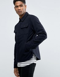 Celio Military Jacket In Wool Mix Marine Navy