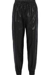 Msgm Woman Metallic Crinkled Shell Tapered Track Pants Black