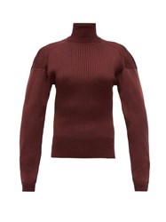 Bottega Veneta Cut Out Roll Neck Ribbed Silk Sweater Burgundy