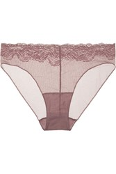 Hanro Lulu Stretch Leavers Lace Trimmed Tulle Briefs Grape