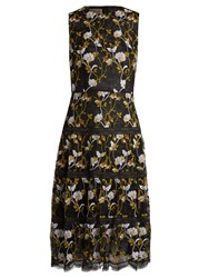 Giambattista Valli Floral Embroidered Lace Midi Dress Black Multi