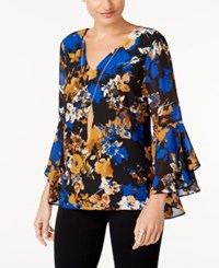 Thalia Sodi Bell Sleeve Necklace Top Created For Macy's Del Rio Floral Blue Combo