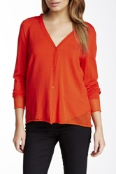 Lafayette 148 New York Long Sleeve V Neck Cardigan Orange