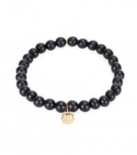 Sydney Evan Baby Hamsa Pearl Bracelet With 14Kt Yellow Gold Charm Diamonds And A Sapphire Black