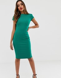 Closet London Pencil Dress With Ruched Cap Sleeve In Green