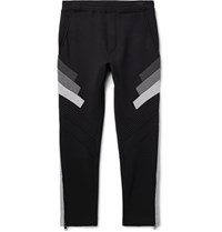 Neil Barrett Slim Fit Tapered Cropped Bonded Jersey Sweatpants Black