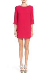 Leith Boatneck Crepe Shift Dress Red
