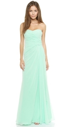 Monique Lhuillier Bridesmaids Strapless Ruched Gown Mint