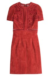Jitrois Suede Dress With Cut Out Detail Red