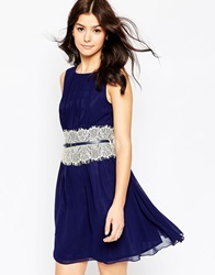 Little Mistress Dress With Mirrored Lace Waistband Navy