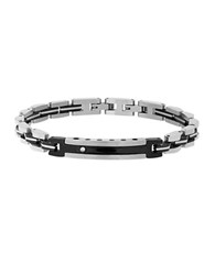 Lord And Taylor Cubic Zirconia Two Tone Bracelet Silver