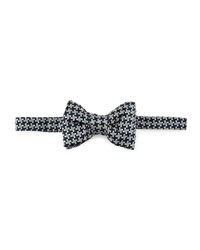 Tom Ford Large Houndstooth Bow Tie Blue