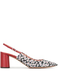 Rochas Daisy Print Pointed Slingback Shoes White