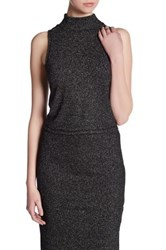 Bb Dakota Sleeveless Mock Neck Metallic Knit Shirt Black