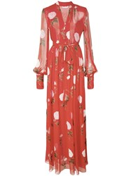 Oscar De La Renta Floral Print Maxi Dress Red