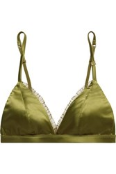 Love Stories Darling Lace Trimmed Stretch Satin Soft Cup Triangle Bra Sage Green