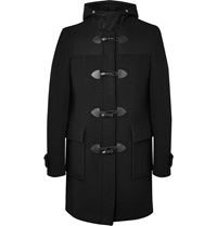 Givenchy Leather Trimmed Wool Duffle Coat Black