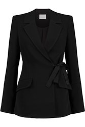 Cinq A Sept Zuri Wrap Effect Crepe Blazer Black