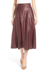 Women's Olivia Palermo Chelsea28 Leather Midi Skirt Burgundy Royale
