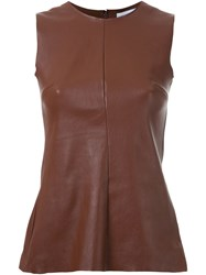 Scanlan Theodore Stretch Leather Tank Top Brown