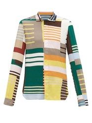 Rick Owens Abstract Stripe Crepe Shirt Multi