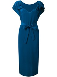 Indress Tie Waist Midi Dress Women Silk 3 Blue
