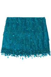 Ashish Sequined Silk Georgette Mini Skirt Turquoise