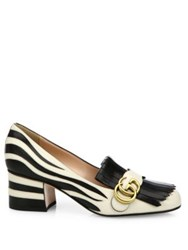 Gucci Marmont Gg Stripe Leather Block Heel Pumps White Black