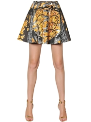 Versus Printed Techno Blend Neoprene Skirt Black Gold