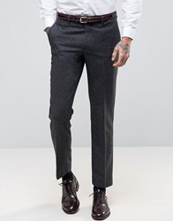Harry Brown Heritage Slim Fit Donegal Suit Trousers Charcoal Grey
