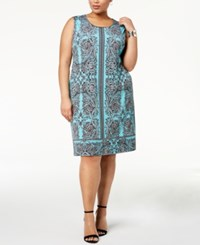 Jm Collection Plus Size Embellished Sheath Dress Created For Macy's Aqua Ornament Garden