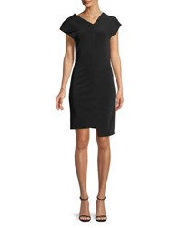 Helmut Lang Shifted Asymmetric Short Sleeve Dress Black