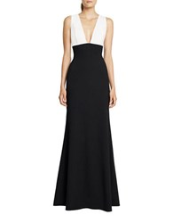 Jill Stuart Plunging V Neck Colorblock Gown Off White