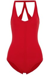 Rick Owens Open Back Swimsuit Red