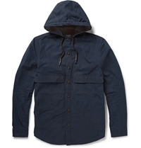 Steven Alan Cotton Gabardine Hooded Jacket Blue