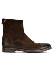 Alberto Fasciani Contrasted Toe Cap Ankle Boots Brown