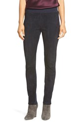 Women's Lafayette 148 New York Suede And Punto Milano Skinny Moto Pants Ink