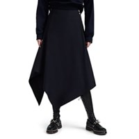 Cedric Charlier Zip Detailed Wool Skirt Navy