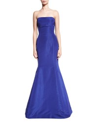 Oscar De La Renta Strapless Ruffle Back Silk Faille Gown Royal
