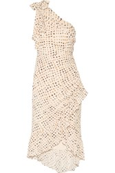 Ulla Johnson Imogen One Shoulder Printed Silk Crepe De Chine Dress Beige