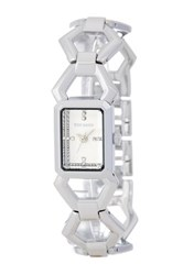 Steve Madden Women's Hexagon Enamel Link Bracelet Watch Metallic