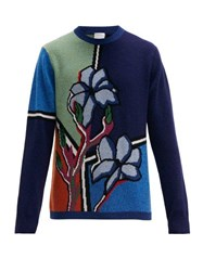 Paul Smith Floral Intarsia Lambswool Sweater Blue Multi