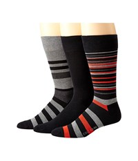 Cole Haan Town Stripe Crew 3 Pack Black Graphite Heather Black Mid Grey Heather Black Men's Crew Cut Socks Shoes